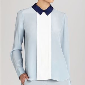 BCBGMAXAZRIA Christi color block 100% silk blouse